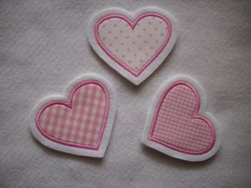 ♥ Herzchen-Trio rosa ♥  Applikation ♥ Aufnäher ♥  Set 3-tlg. - Handarbeit kaufen