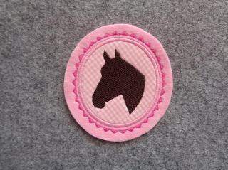 Pferdekopf gestickt ☆ Aufnäher ☆ rosa/pink/weiss/braun