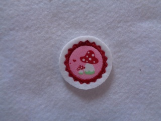 Mini-Button Pilz ♥ Applikation ♥ Aufnäher ♥  rosa