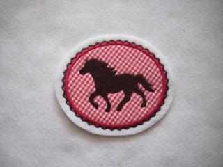 Pony gestickt ♥ süsse Applikation ♥ Aufnäher ♥ rot (Kopie id: 100092572) - Handarbeit kaufen