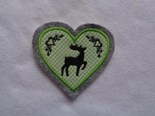 Herz  mit gest. Hirsch und Ornamenten ♥ Aufnäher ♥ Applikation (Kopie id: 100096742) - Handarbeit kaufen