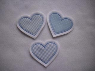 ♥ Herzchen-Trio hellblau  ♥  Applikation ♥ Aufnäher ♥  Set 3-tlg.  (Kopie id: 100105108) - Handarbeit kaufen