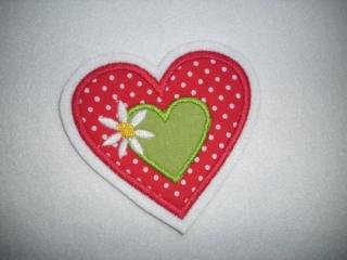 schöne Herz-Applikation mit Blümchen ♡  Aufnäher - Handarbeit kaufen