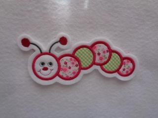 Süsse Raupe grün/rosa ☆ Applikation ☆ Aufnäher (Kopie id: 100122144) - Handarbeit kaufen