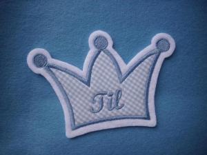Aufnäher/Applikation Krone mit Wunschnamen ♥  blau (Kopie id: 100124793) (Kopie id: 100124996) - Handarbeit kaufen