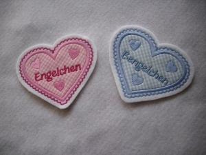 hübsche Herz-Applikation  ♡ mit Wunschnamen oder -/text  ♡ rosa oder hellblau - Handarbeit kaufen