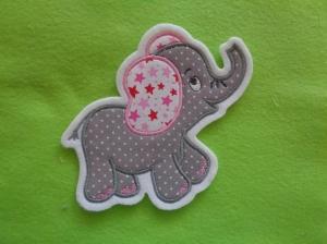 niedlicher Elefant ♥ grau/rosa ♥ Applikation ♥ Aufnäher ♥ - Handarbeit kaufen