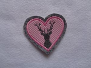 Applikation  ♥ Herz ♥ Hirschkopf ♥ Hirsch ♥ Aufnäher ♥ rosa - Handarbeit kaufen