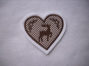 Herz  mit gest. Hirsch und Ornamenten ♥ Aufnäher ♥ Applikation