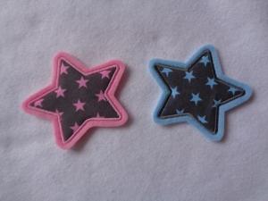 Sternchen ♥ wahlweise rosa/grau oder blau/grau ♥  Applikation ♥  - Handarbeit kaufen