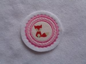 Mini-Button Fuchs ♥ Applikation ♥ Aufnäher♥ rosa - Handarbeit kaufen