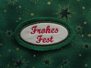 Applikation ☆ Aufnäher ☆ Frohes Fest - Handarbeit kaufen