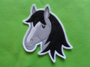 Applikation ♥ Pferdekopf ♥ Aufnäher ♥ grau ♥  (Kopie id: 100141935) - Handarbeit kaufen