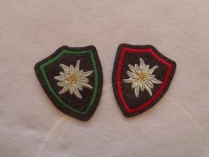 ♥ Aufnäher ♥ Applikation ♥ Wappen mit gest. Edelweiss, Edelweisswappen - Handarbeit kaufen