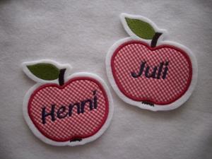 niedlicher  Apfel  mit Wunschname ☆ Applikation  ☆ Aufnäher   - Handarbeit kaufen