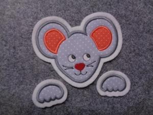 niedliche Maus ♡  3 tlg. ♡  Applikation ♡  Aufnäher  (Kopie id: 100148291) - Handarbeit kaufen