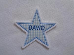 Stern mit gesticktem Namen  max. 7 Buchstaben ☆ Aufnäher ☆  - Handarbeit kaufen