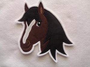 Applikation ♥ Pferdekopf ♥ braun ♥ Aufnäher oder zum Aufbügeln - Handarbeit kaufen