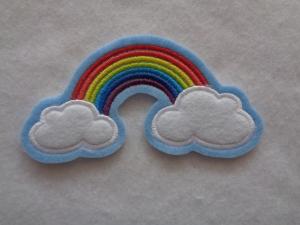 niedlicher  Regenbogen mit Wolken ☆ Applikation  ☆ Aufnäher