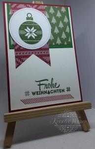 Grußkarte ☆ Frohe Weihnachten ☆Weihnachtsbaumkugel ☆ Stickmuster