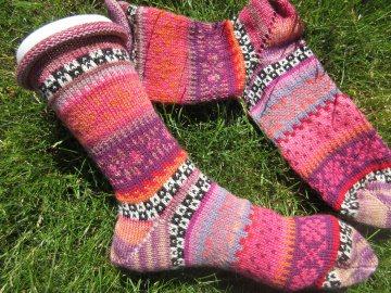 Bunte Socken Gr. 41/42 - gestrickte Socken Fair Isle - Handarbeit kaufen