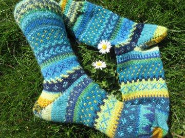 Bunte Socken spring Gr. 38/39 - gestrickte Socken Fair Isle - Handarbeit kaufen