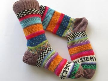 Bunte Socken hygge 38/39 - gestrickte Socken Fair Isle - Handarbeit kaufen