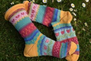 Bunte Socken Gr. 38/39 - gestrickte Socken Fair Isle - Handarbeit kaufen