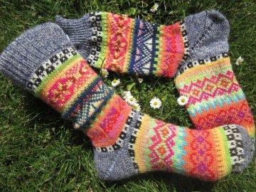 Fair Isle Socken Gr. 38/39 - gestrickte Socken - Handarbeit kaufen