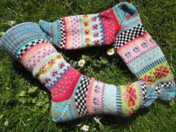 Bunte Socken Flora Gr. 39/40 - gestrickte Socken Fair Isle