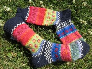 Bunte Socken Gr. 39/40 - gestrickte Socken Fair Isle - Handarbeit kaufen
