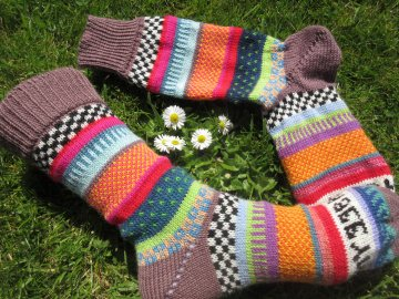 Socken Gr. 39-40 - bunte Socken hygge, gestrickt - Handarbeit kaufen