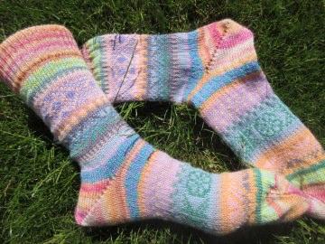 Bunte Socken Gr. 40/41 - gestricke Socken Fair Isle - Handarbeit kaufen