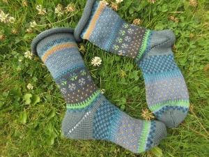 Bunte Socken Gr. 39/40 - gestrickte Socken Fair Isle