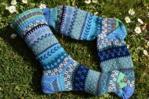 Bunte Socken Gr. 39-40 - gestrickte Socken in nordischen Fair Isle Mustern