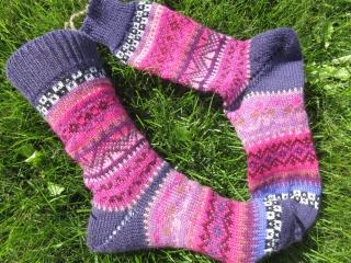Bunte Fair Isle Socken Alma Gr. 37/38 - gestrickte Socken in nordischen Fair Isle Mustern