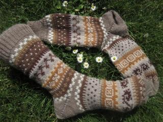 Fair Isle Socken Gr. 39/40 - gestrickte Socken in nordischen Fair Isle Mustern - Handarbeit kaufen