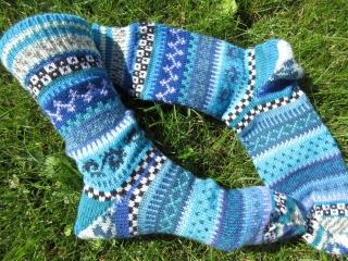 Bunte Socken Louis Gr. 41/42 - gestrickte Socken in nordischen Fair Isle Mustern