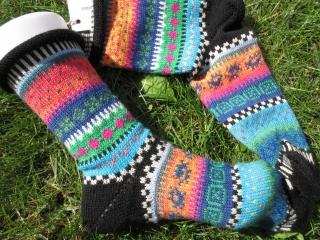 Bunte Socken Linus Gr. 41/42 - gestrickte Socken in nordischen Fair Isle Mustern