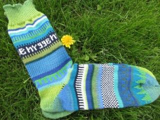 Bunte Herrensocken Gr. 42/43 - gestrickte Socken in leuchtenden Farben - Handarbeit kaufen