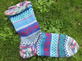Bunte Socken Sokka Gr. 42/43 - gestrickte Socken in nordischen Fair Isle Mustern - Handarbeit kaufen