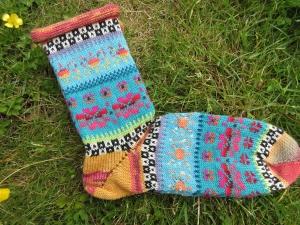 Bunte Socken Gr. 41/42 - gestrickte Socken in nordischen Fair Isle Mustern