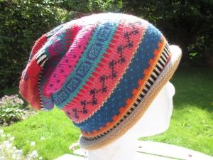 Bunte Mütze Gr. S - gestrickte Mütze in leuchtend bunten Farben und nordischen Fair Isle Mustern - Handarbeit kaufen