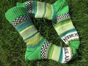 Bunte Socken hygge Gr. 38/39 - gestrickte Socken mit dänischem Gemütlichkeitsfaktor
