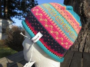 Bunte Kindermütze 2-4 Jahre - gestrickte Mütze in nordischen Fair Isle Mustern - Handarbeit kaufen