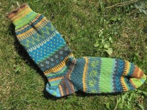 Fair Isle Socken Gr. 42/43 - bunte Herrensocken im nordischen Mustermix  - Handarbeit kaufen