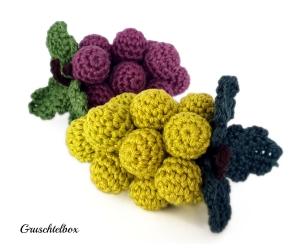 gehäkelte Weintrauben aus Baumwolle in grün und violett, 2-teiliges Set