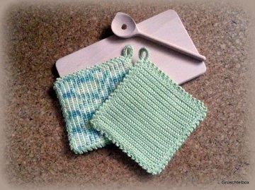 Topflappen für Kinder aus Baumwolle  zweifarbig uni/color, 2 Stück