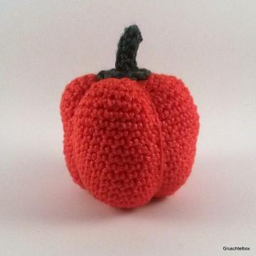 Gehäkelter roter Paprika aus Baumwolle für den Kaufladen