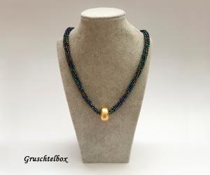 Kumihimo Halskette mit Schiebeperle, 48 cm, regenbogenfarben glänzend - Handarbeit kaufen